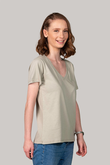 Organic and Sustainable Khaki  - Bluverd female V Neck T shirt