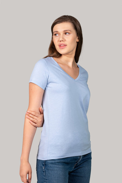 Organic and Sustainable Sky Blue - Bluverd female V Neck T shirt