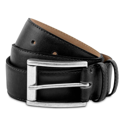 Astor Vegan Leather Belt In Black | Watson & Wolfe - Just Think Eco