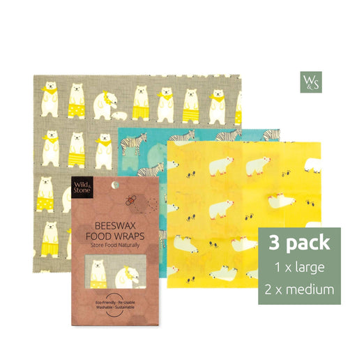 Beeswax Food Wraps - Animal Pattern - 3 Pack (2x Medium, 1x Large) - Just Think Eco