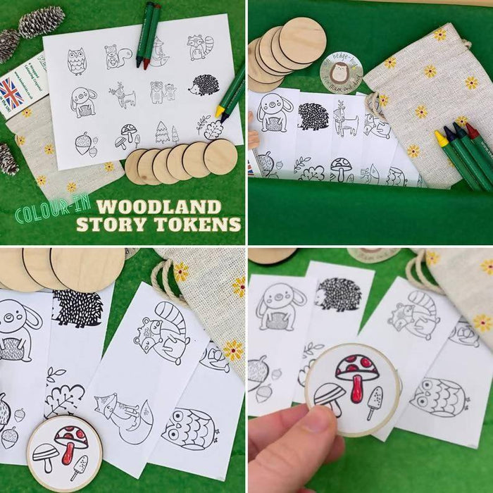 Woodland Colour-in Story Wooden Tokens, Forest Animals Story Stones Alternative, Fall/ Autumn Nature Eco Friendly Stocking Filler for Kids