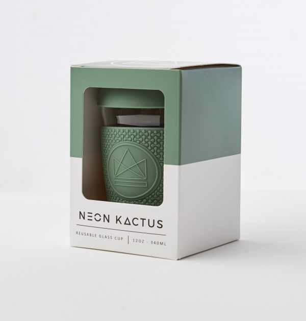 Neon Kactus Green Reusable Glass Coffee Cup 12oz