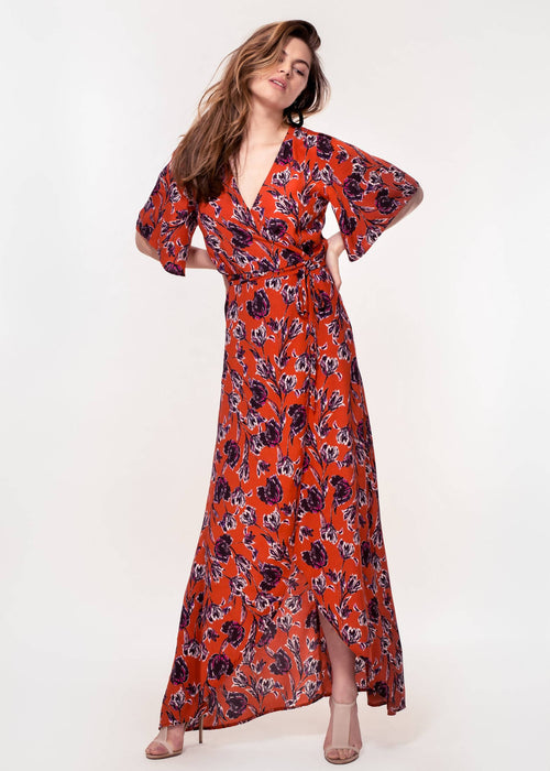 Rosa Dress In Rust Tulip Print   Eco Friendly Dress Made From 100% Viscose   Hide The Label - Just Think Eco