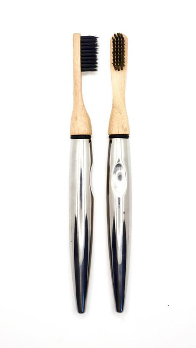 Stainless Steel Tooth Brush with Replaceable Bamboo Head