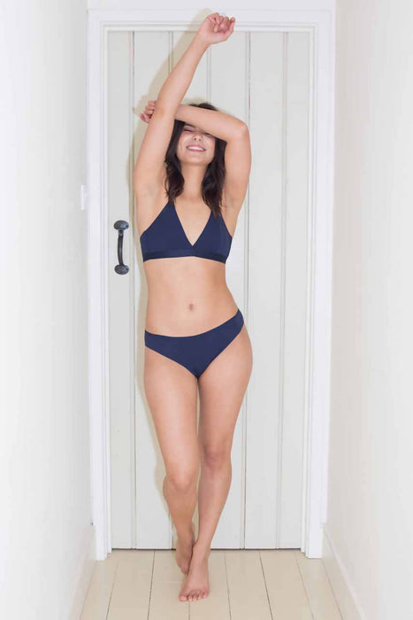 Blue Organic Cotton Seamless Knickers