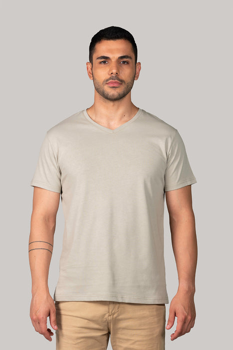 Organic and Sustainable Khaki - Bluverd Male V Neck T shirt