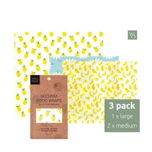 Beeswax Food Wraps - Fruit Pattern - 3 Pack (2x Medium, 1x Large) - Just Think Eco