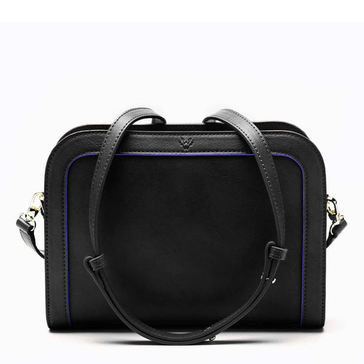 The Wilton Crossbody Vegan Leather Bag In Black & Cobalt Blue | Watson & Wolfe - Just Think Eco