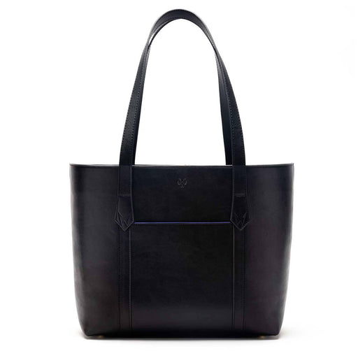 Maddox Vegan Leather Tote Bag in Black & Cobalt Blue | Watson & Wolfe - Just Think Eco