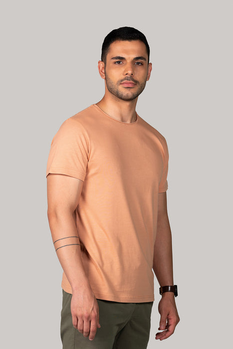 Organic and Sustainable Pastel Orange - Bluverd Male Crew Neck T shirt