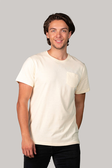 Organic and Sustainable Pastel Yellow - Bluverd Male Crew Neck T shirt  with Pocket