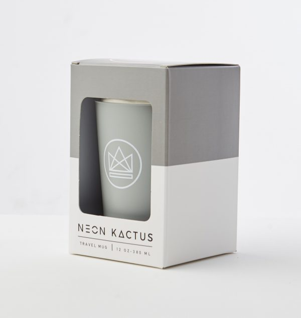 Neon Kactus Grey Reusable Stainless steal Coffee Cup 12oz