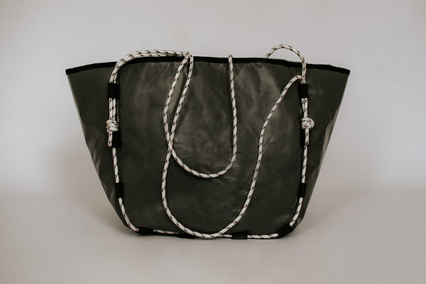 Sustainable upcycled tote handbag Wandering Bell bag