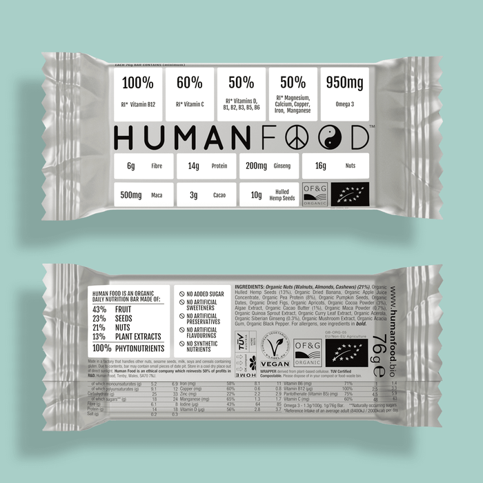 Five pack of White Organic nuts Human Food nutrient bar
