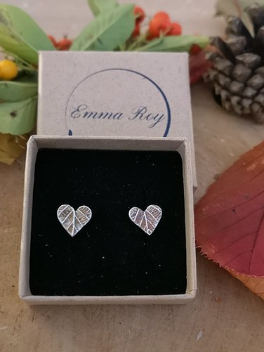 Jewellery By Emma Roy, Heart 3D Leaf Stud Earrings, Pure Silver Earrings, Sustainable Jewellery
