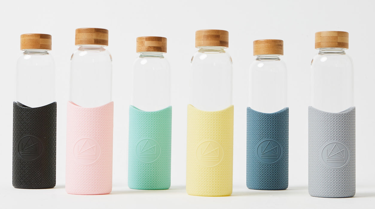 Neon Kactus Blue Reusable Glass Bottle 500ml