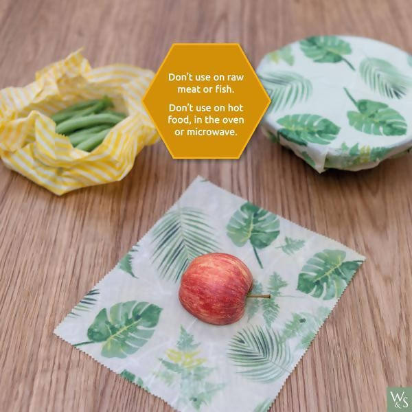 Beeswax Food Wraps - Fruit Pattern - 3 Pack (2x Medium, 1x Large)