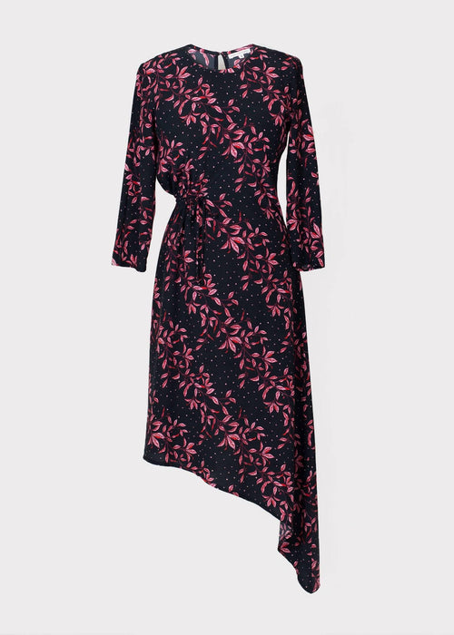 Azalea Dress In Pink Leaf Print | Made from Eco Friendly Viscose - Just Think Eco