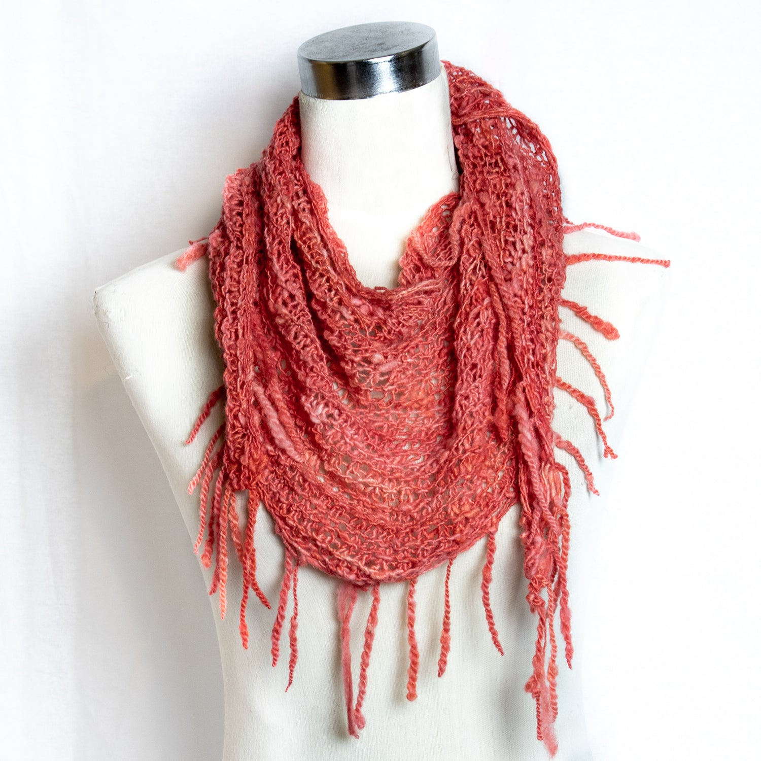 "Triangle Fringe Scarf ""Firefly"" - 100% NZ Wool"