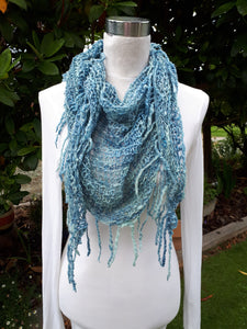 "Triangle Fringe Scarf ""Dresden Blue"" - 100% NZ Wool"