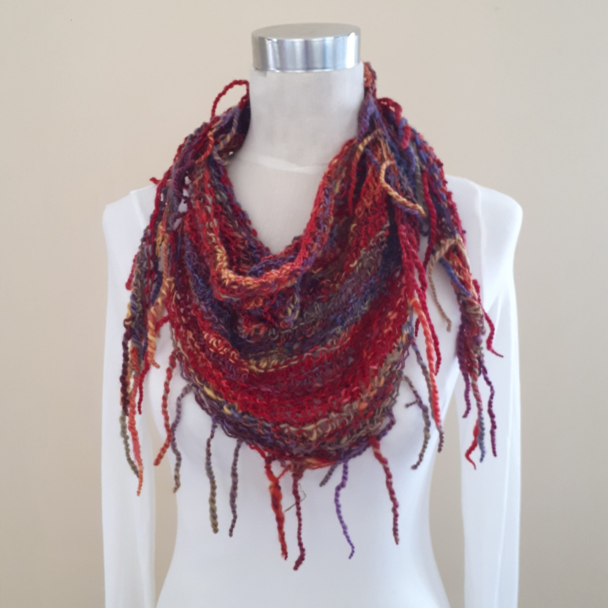 "Triangle Fringe Scarf ""Gypsy"" - 100% NZ Wool"