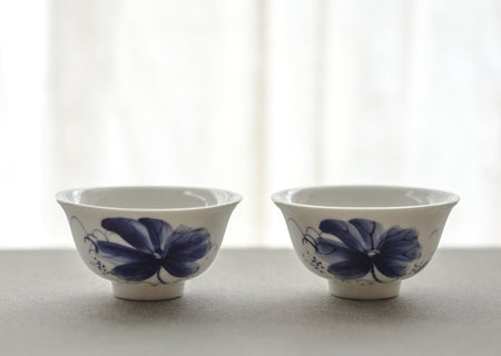 Blue flower Cups, Set of Two