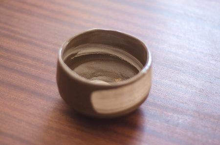 Brown Chawan matcha bowl top view