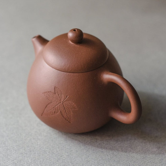 Yixing Teapot with Leaf Design (6.75 oz)