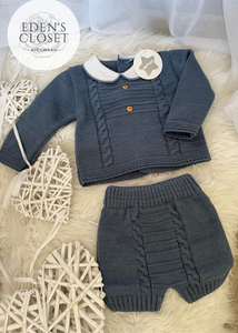 Navy Minhon Knitted - 2 Piece Set