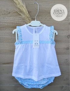 Calamaro Blue & White Flower Top w/ Matching Rompers