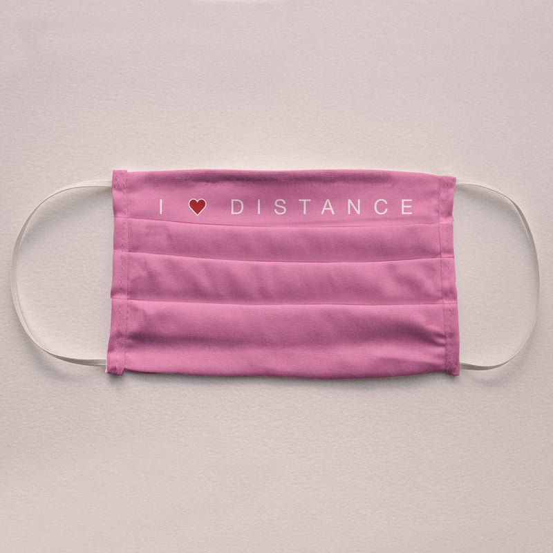 "Community Face Mask ""I Love Distance"""