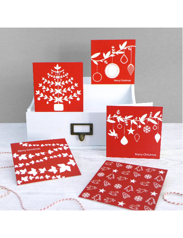 Pack of 5 Classic Christmas Cards Red