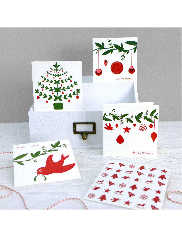 Pack of 5 Classic Christmas Cards White
