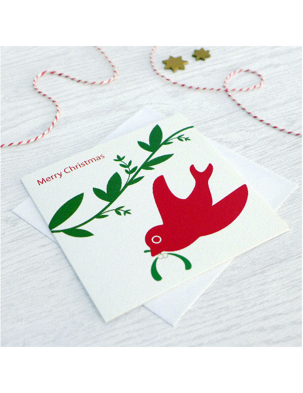 Pack of 5 Mistletoe & Swallow Christmas Cards