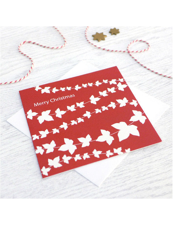 Pack of 5 Red Ivy Christmas Cards