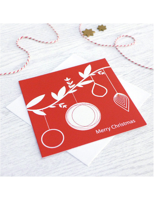 Pack of 5 Red Bauble Branch Christmas Cards