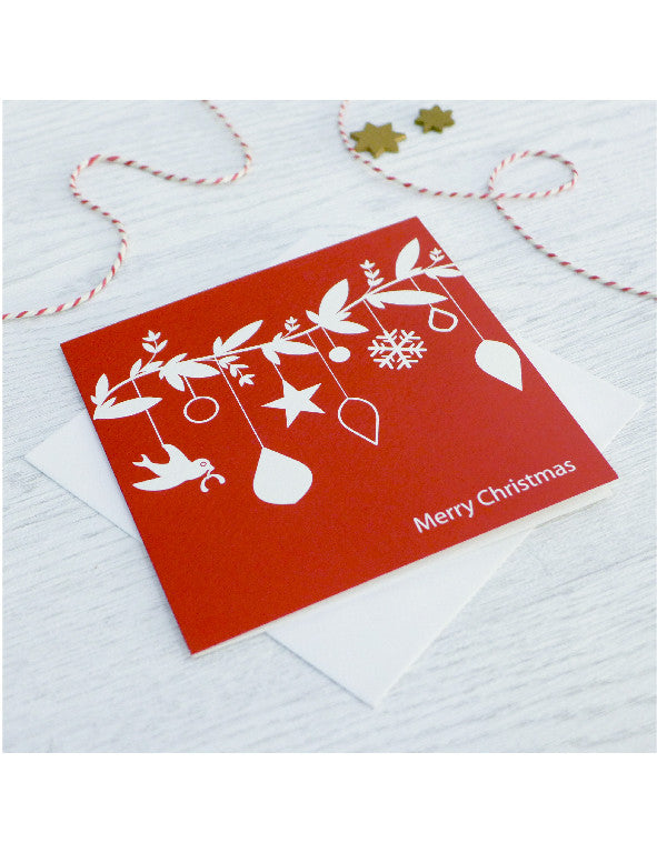 Pack of 5 Red Toy Branch Christmas Cards
