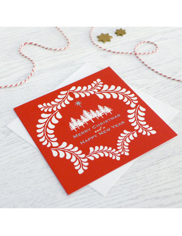 Pack of 5 Forest Wreath Christmas Cards