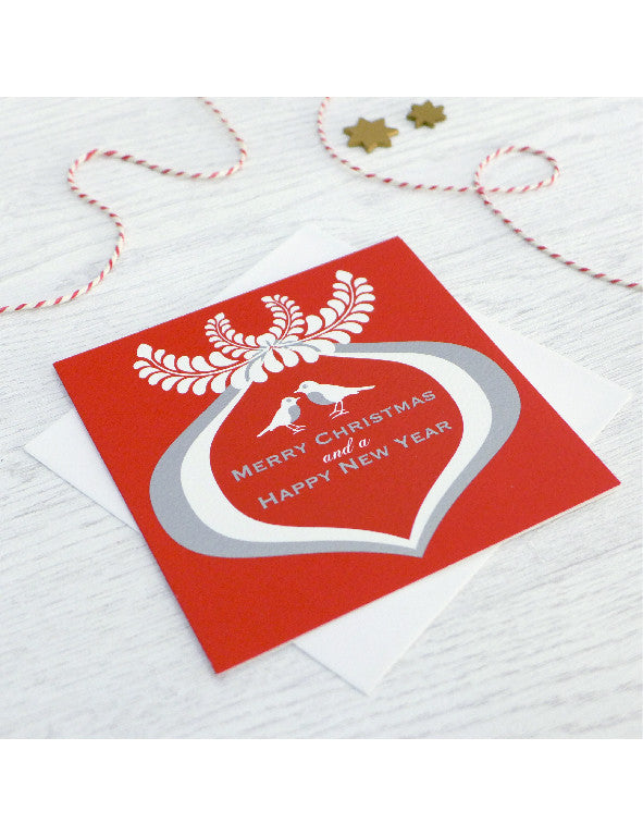 Pack of 5 Robins Wreath Christmas Cards