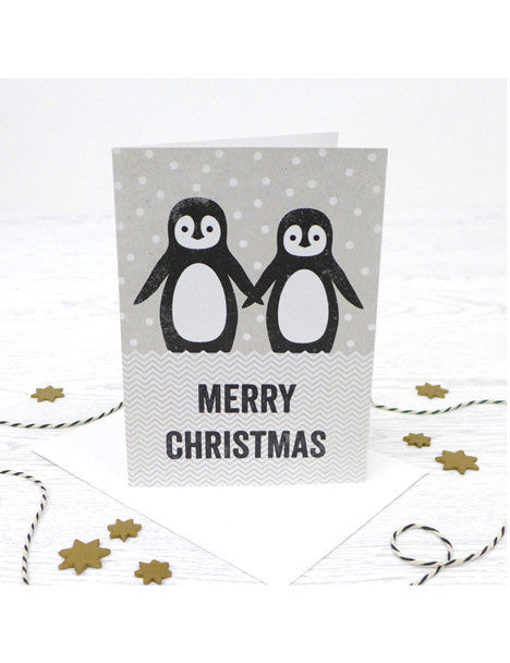 Pack of 5 Christmas Penguin Couple Cards