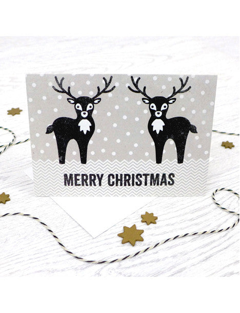 Pack of 5 Merry Christmas Reindeer Cards