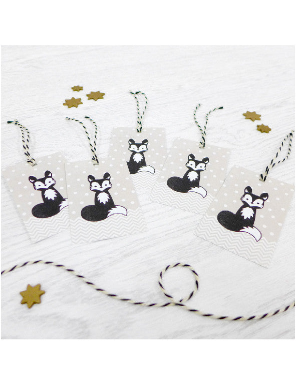 Pack of 5 Arctic Fox Christmas Tags