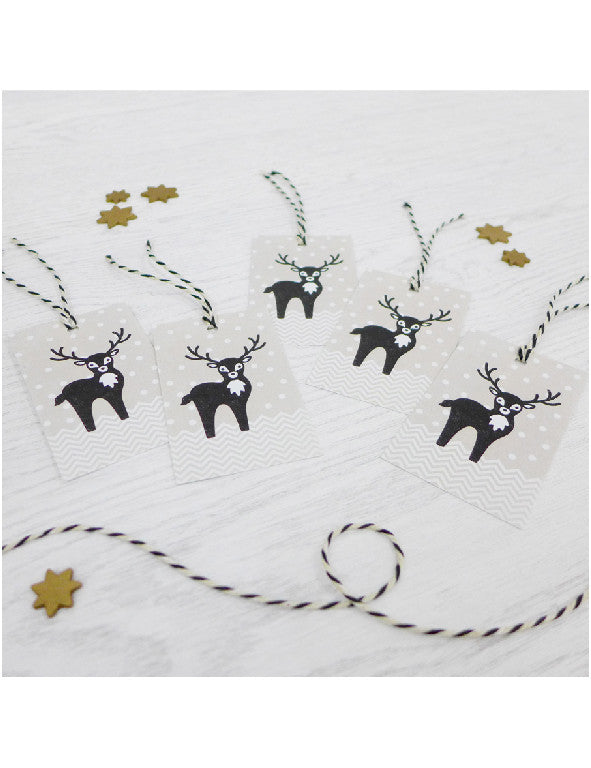Pack of 5 Reindeer Christmas Tags
