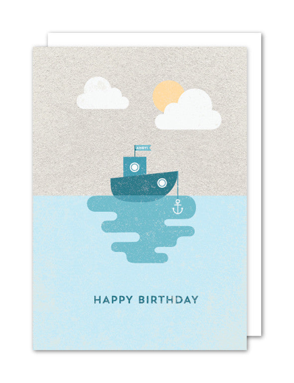 Happy Birthday Boat Card by The Strawberry Card Company