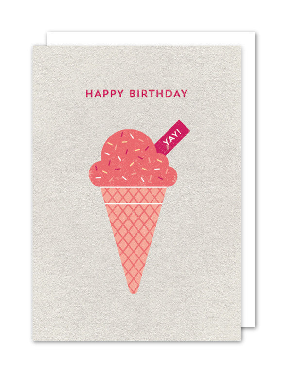 Happy Birthday Ice Cream card by The Strawberry Card Company
