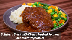 Cooking with Cass: Salisbury Steak with Cheesy Mashed Potatoes and Organic Mixed Vegetables