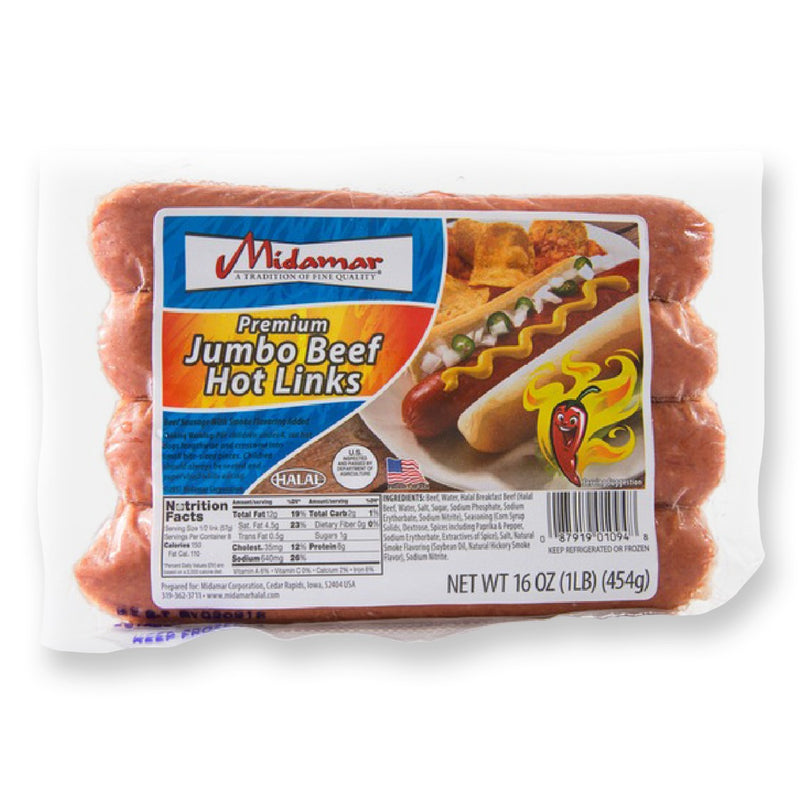 Midamar Halal Jumbo Beef Hot Link Package