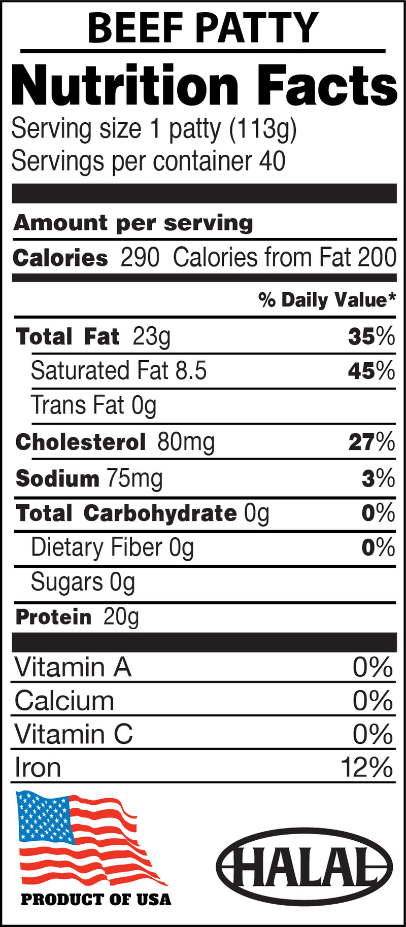 Midamar 100% beef burgers nutritional facts