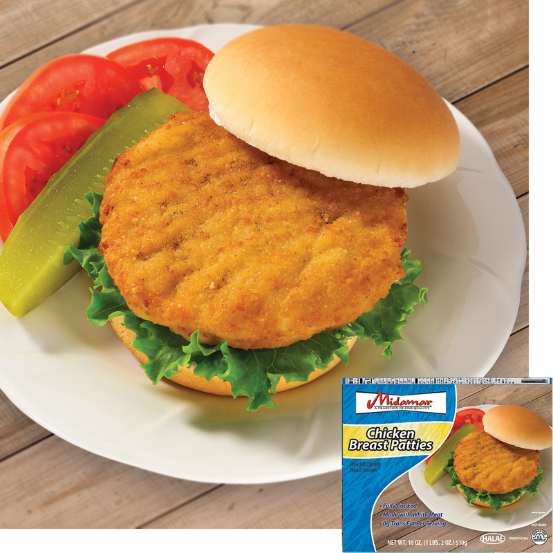 Halal Fully Cooked Chicken Breast Patties