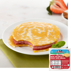 Halal cheesewich Colby Jack beef salami with package